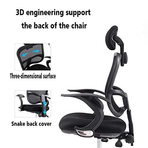 MISS&YG Ergonomisk kontorsstol, svängbar rullande verkställande stol, bekväm nätstol med armstöd, justerbar höjd lutningsfunktion kontorsbord och stol, svart Svart