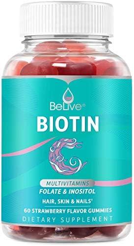 Biotin Gummies with 5000mcg Hair Multivitamin for Women – Supports Hair Growth, Skin & Nail, Vegan, Pectin Based, Added Essential Multivitamins – Strawberry Flavor (60 Count)