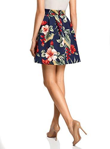 oodji Ultra Mujer Falda de Punto con Pliegues Suaves Azul (7919F)