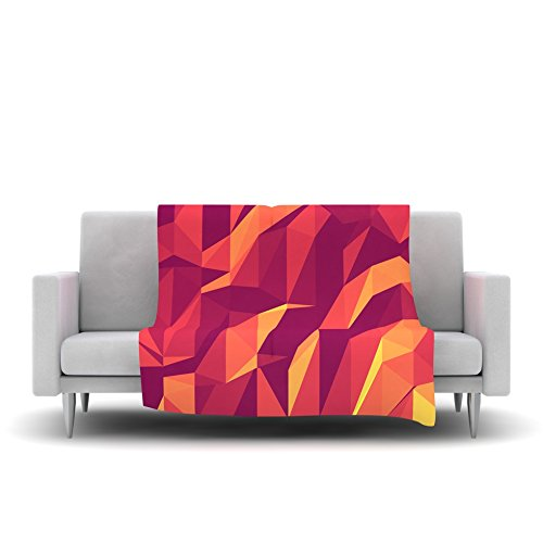 Kess InHouse Strawberringo Abstract Mountains Orange Abstract Fleece Throw Blanket 60 by 50