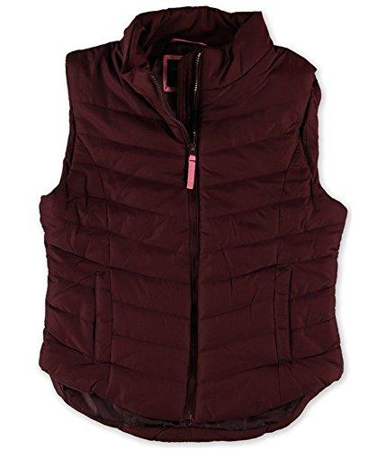 Aeropostale Womens Solid Full-Zip Puffer Jacket, Red, Small (Aeropostale Puffer Jacket)