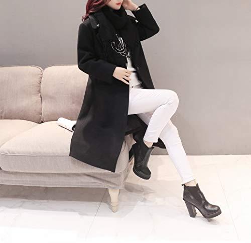 Larga Señoras Lana Sobre De Las Rodilla Duración Negro Abrigo Femenina Fina Invierno Otoño E Dee Chaqueta La IUwqn6CC