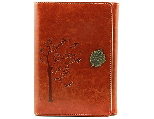 Valery Classic Leather Notebook Retro Vintage Diary & Journal Medium Size for Men/women Daily Use Gift -Blank&lined Refillable Loose Leaf Pages-rustic Travel Style Tree Leaf Design (Brown)