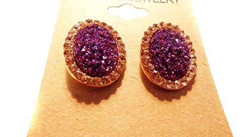 Purple Crystal Earrings Encrusted Crystal Earrings 1 Inch Oval Earrings