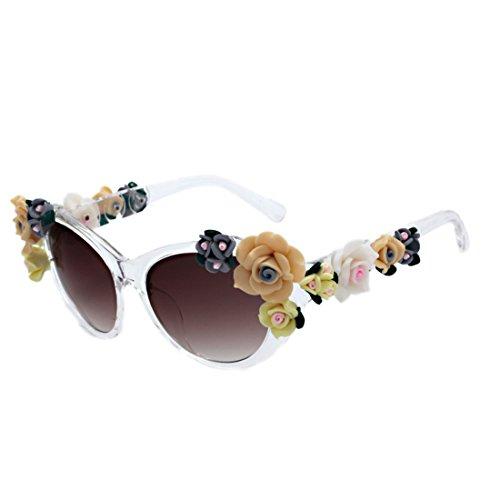 Flores Oval mujer Eye Aiweijia Cat rosas Sunglasses gafas verano Cristal Mujeres moda gafas Playa ZzTZYa
