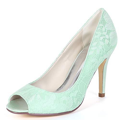 Heels Zapatos Heel Mujeres yc White Green De Plataforma High 9cm Las Lace Chunky Kitten Toe L Boda Peep 7w5S4Sq
