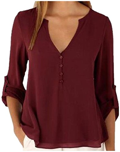 Winwinus Womens Solid-Colored Chiffon High Low Plus-size Blouse Shirt Wine Red XL