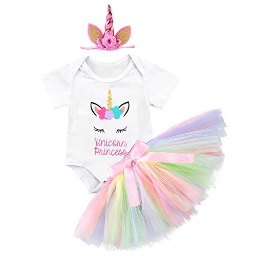 3PCS Unicorn Party Fall Outfit Newborn Baby Girls
