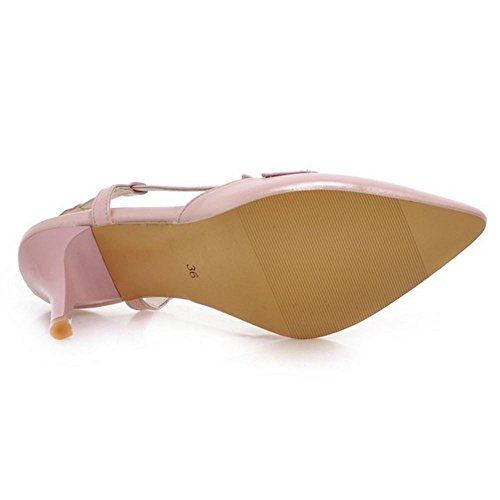 COOLCEPT Mujer Moda Sin Cordones Sandalias Cerrado Slingback Tacon de Aguja Zapatos Rosado