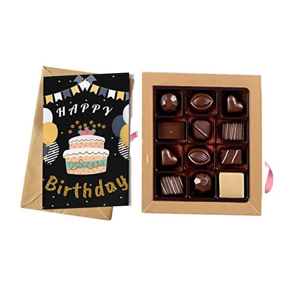 redbakers.in Happy Birthday Chocolate Gift Box & Greeting Card Combo Gift Pack (TIKBLACK)