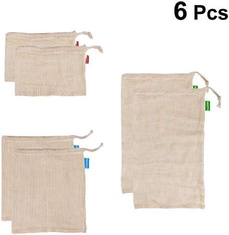 BESTONZON Malla Bolsa de verduras - 6 piezas de tela vegetal Bolsas Bolsas de malla de algodón para verduras Bolsas de productos reutilizables con cordón (2 piezas por cada tamaño): Amazon.es: Hogar