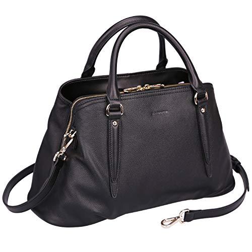 Banuce Black Real Leather Hangbag for Women Satchel Messenger Bag Triple Entry Design Tote Work Shoulder Purse