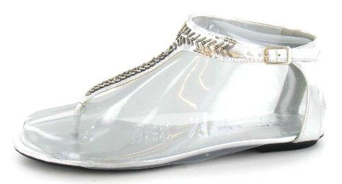 mit Silber Zehensandalen Perlen On Flache Damen Spot Design wxOPUpIxq
