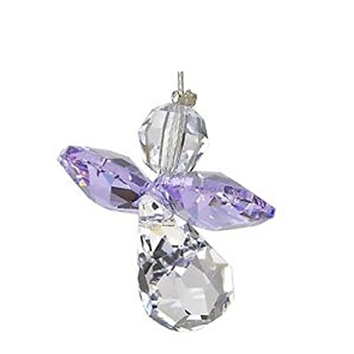 Angel My First Communion Gift Set - Includes Hanging Birthstone Guardian Angel, Greeting Card and comes in an organza bag so it's ready for giving! (February Amethyst) (February Boys Charm)