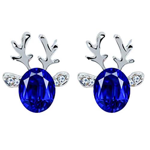 Christmas Earrings Gift! Amaping Luxury Three Dimensional Christmas Reindeer Antlers Earing Xmas Crystal Gemstone Earrings (Blue) -  Amaping 102788670199011