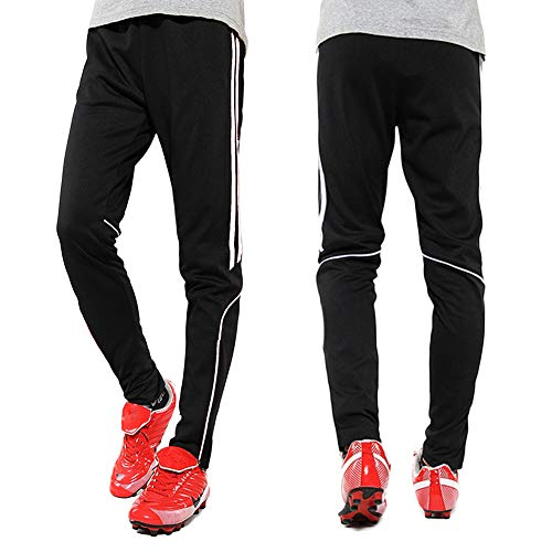- Men's Sweatpants Track Soccer Training Pants Active Jogger Pants Slim Fit Trousers Striped with Zipper Pockets M