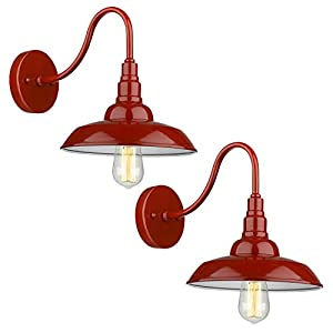 Emliviar Modern Barn Light Sconce Two Pack, Industrial Wall Lighting in Red Finish, 523-2 RED