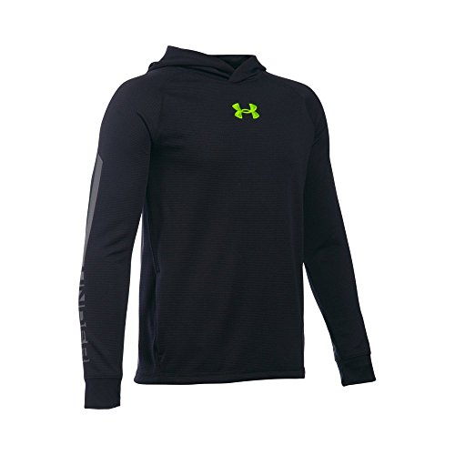 Under Armour Boys' Waffle Hoodie, Black/Graphite, Youth Large