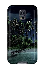 Rugged Skin Case Cover For Galaxy S5- Eco-friendly Packaging(amazing Island And Moon Landscape S)