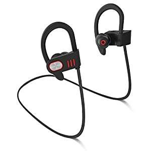 Bluetooth Headphones, Best Wireless Sports Earphones HD Stereo Waterproof 100% Sweatproof Earbuds for Workout 8 Hour Battery Noise Cancelling CVC 6.0 Headsets with Soft Security Hooks By FASEED
