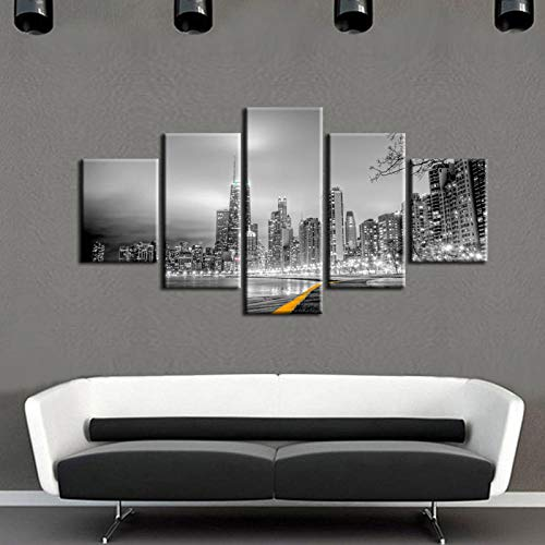 Bzdmly 5 Canvas Paintings Large Painting Pictures Cityscape Series Wall Pictures for Living Room Print Paintings Home Decor-B