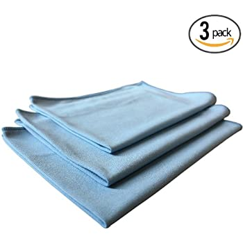 (3-Pack) THE RAG COMPANY 16 in. x 24 in. Premium Window, Glass, Mirror & Chrome Professional Korean 70/30 Microfiber LINT-FREE, STREAK-FREE Detailing Towels