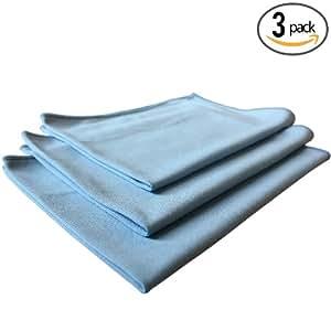 (3-Pack) THE RAG COMPANY 16 in. x 24 in. Premium Window, Glass, Mirror & Chrome Professional Korean 70/30 Microfiber LINT-FREE, STREAK-FREE Detailing Towels