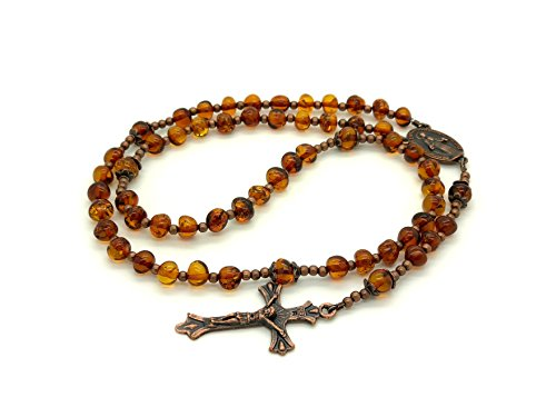 Genuine Baltic Amber Catholic Prayer Rosary with Crucifix Cross