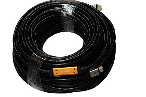HDMI 150ft Cable with Ethernet (Black) / Pure Copper conductor & Gold plated / Pro-Grade Long Run HDMI w/ Signal Booster 3D & Audio Return / 4K Supports - WireShopper by Wire Shopper
