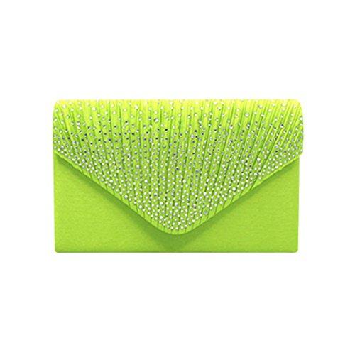 Saihui - Cartera de mano de Satén para mujer Verde