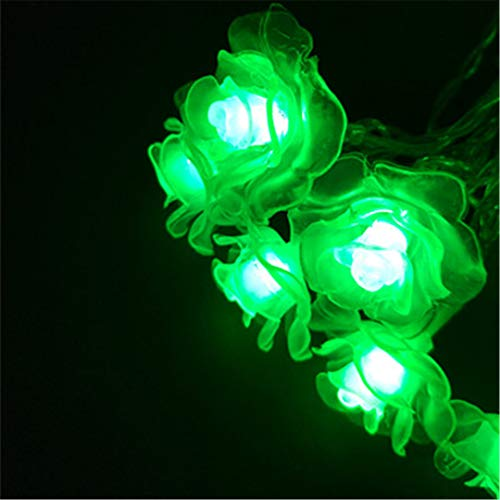 BGFHDSD Garland Rose Flower Fairy Luces Decorativas String Lights Christmas Guirlande Lumineuse LED Garden Party Decoration Green 2m 20roses