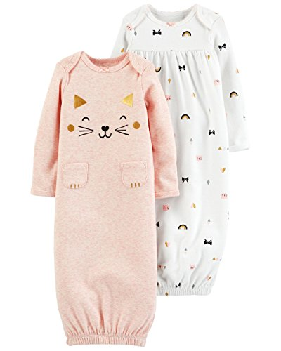 Carter's Baby Girls' 2-Pack Babysoft Sleeper Gowns (3 Months, Pink/Kitty) -