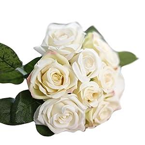 Loxokonva Elegant 9 Heads Artificial Silk Fake Flowers Leaf Rose Wedding Floral Decor Bouquet 73