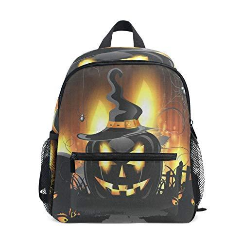 Black Halloween Pumpkin School Backpack For Boys Kids Preschool School Bag Toddler Bookbag]()