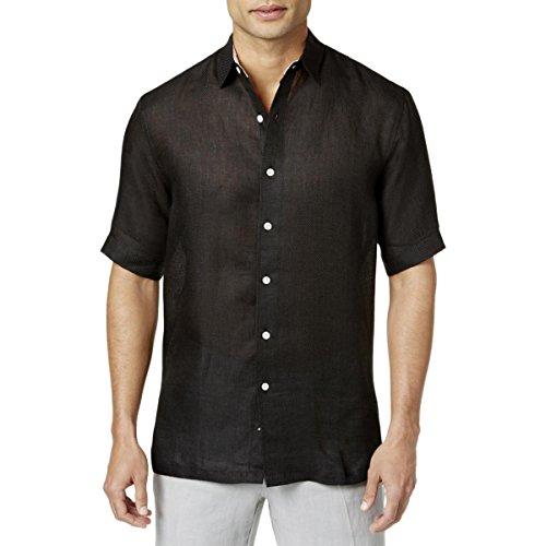 Tasso Elba Mens Linen Button Front Dress Shirt Black M -