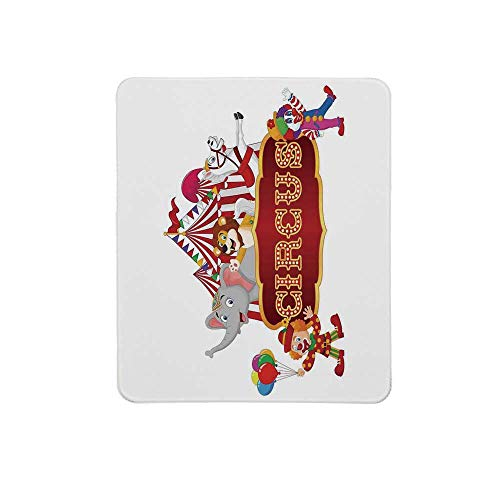 Circus Decor Non Slip Mouse Pad,Cute Happy Fun Trained Circus Animals with Nostalgic Tent Carnival Party Show Art for Home & Office,11