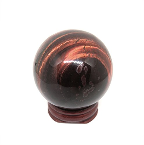 NSCTrading 50mm Red Tiger Eye Crystal Gemstone Sphere with Stand