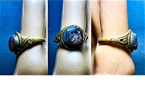 1 Brass Centurion Intaglio RING, Tiny Intricately Carved Below Surface in Jasper Bloodstone,1 Scroll Brass Ring One Of A Kind. (Carved Intaglio)