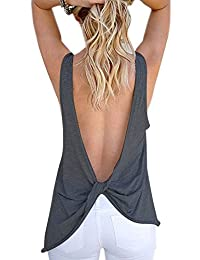 Women Sexy Sleeveless Open Back Shirt Knotted Tank Top Blouse Sport Vest Tops Tshirt