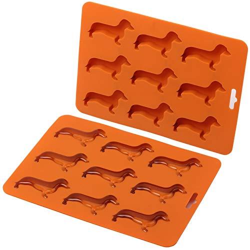 Ice Mold,Dog ice mold Cute Dachshund Dog Shaped Ice Cube Mold Tray(2pcs)