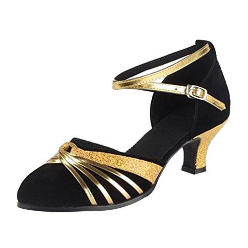 Tacón Alto Mujer Baile Gamuza Negro Estándar de de Latino Gold Zapatos BOZEVON zdqw6n86
