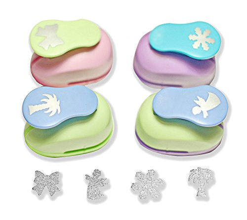 Punch Palm Tree - Paper Punch Confetti Puncher 1 inch, 4 Pcs Set(Bow,Angel,Snowflake,Palm Tree) - Craft tools by Secret Life