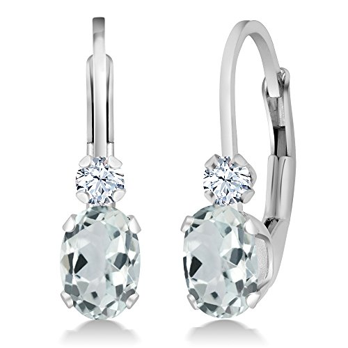 Gem Stone King Sky Aquamarine and White Sapphire 925 Sterling Silver Gemstone Women s Leverback Earrings, 0.94 Ctw