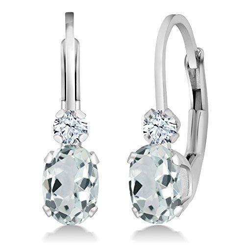 Earrings Aquamarine Leverback (0.94 Ct Sky Aquamarine & White Sapphire Gemstone 925 Sterling Silver Women's Leverback Earrings)