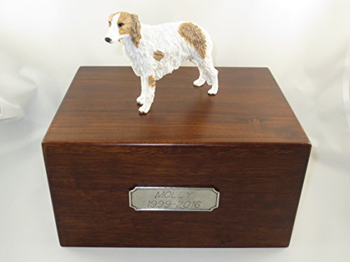 Beautiful Paulownia Large Wooden Urn with Borzoi Figurine & Personalized Pewter Engraving