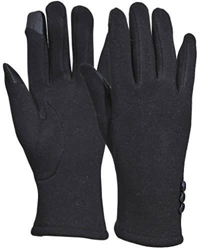 Beurlike Womens Touchscreen Texting Gloves Warm Lined Thick Winter Gloves (Black), One Size