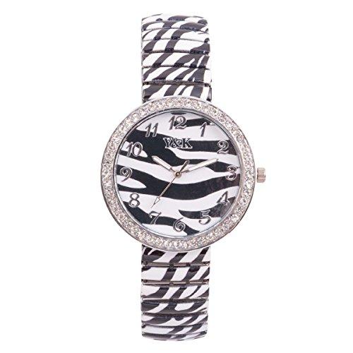 Yaki Fashion Zugband Uhr Damen Armbanduhren Markenuhren Quarzuhr Rund Zebra Muster mit Flexibles Armband