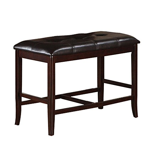 Poundex Counter Height Dining Bench in Deep Brown Finish
