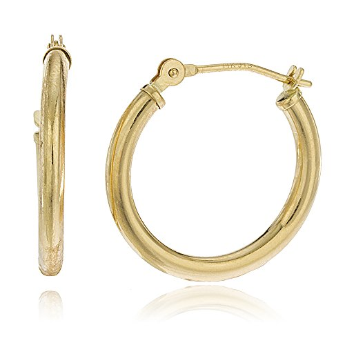 14k Gold 2mm Basic Pincatch Hoop Earrings (12 Millimeters) (GO-587)