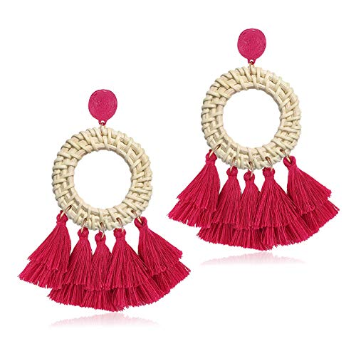 XOCARTIGE Tassel Earrings Woven Rattan Drop Earrings Bohemia Straw Wicker Braid Earrings Rattan Fringe Earrings for Women Girls (Rose Red Circle)